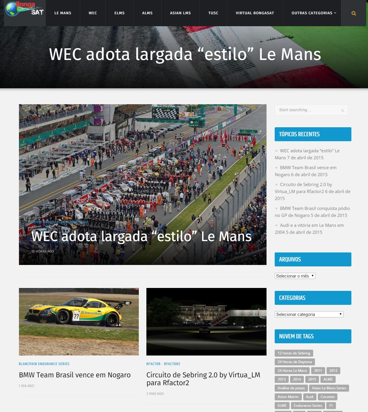 Atual layout, desta vez em plataforma Wordprees