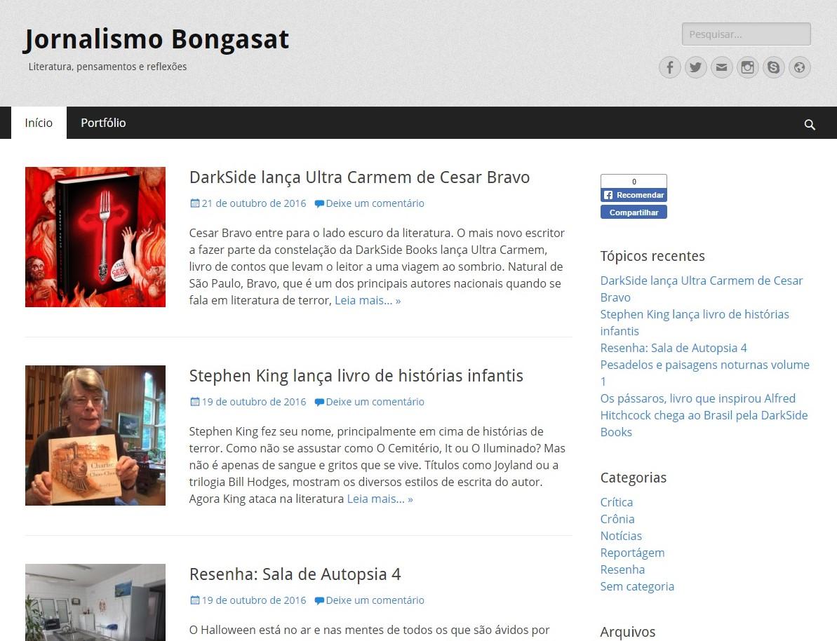 Jornalismo Bongasat: Um espaço para a literatura e noticias em geral