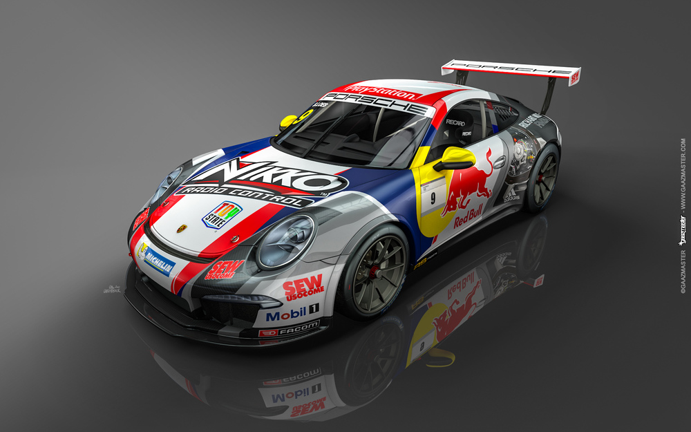 Pintura do carro de Loeb é inspirado em seus carros de rally. (Foto: Divulgação Porsche AG)