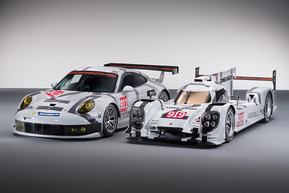 Lançamento do 919 e 911 durante o salão de Genebra em 2014. (Foto: Porsche AG)